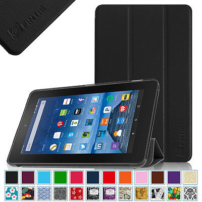 """Amazon Kindle Fire 7 7"""" 7th Generation 2017 Release Slim Leather Case Cover"""