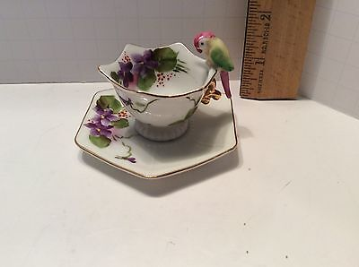 """Vintage Miniature Bird Handled Tea Cup & Saucer Floral Accents Made in Japan 2"""""""