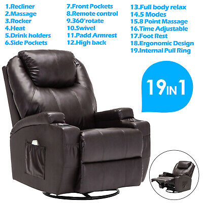 Brown Massage Recliner Sofa Lounge Chair Ergonomic Swivel Heated with Control