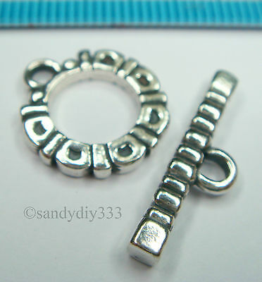 1x OXIDIZED STERLING SILVER BALI FLOWER TOGGLE CLASP 14.2mm #1376