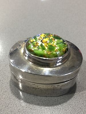 Sterling Silver Taxco Mexico Box Opal Stone  Pill Snuff Ring Case