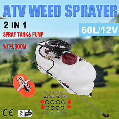2 in 1 60L ATV Weed Sprayer Spray Tank & Pump With Boom 12V Garden Farm Spot