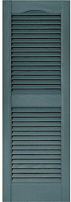 Windows Shutters Pair Louvered Vinyl Exterior Blue Wooden Slats Hardware Home