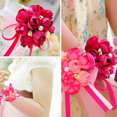 Chic Wrist Corsage Bracelet Bridesmaid Hand Rose Flower Wedding Party Corsage UK