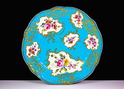 Antique Early Sevres Porcelain Turquoise Painted Flowers Plate C.1753+