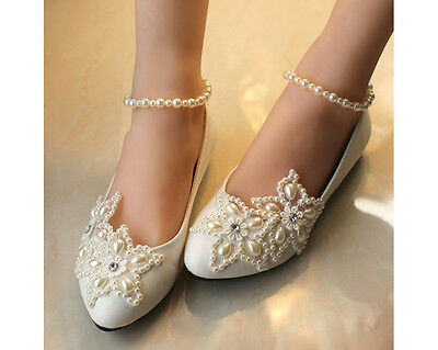 Women Flats Pearls Mary Jane Princess Wedding White Beach Party Bridal Shoes