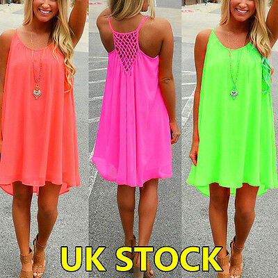 UK Womens Holiday Mini Playsuit Ladies Jumpsuit Summer Beach Dress Size 6 - 20
