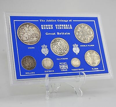 Queen Victoria Coin Set, Crown - Threepence 7 Coin Set in Presentation (KZ91)