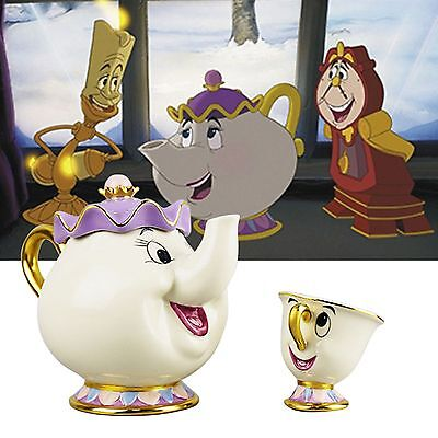 Beauty And The Beast Ceramics Cartoon Teapot Cup Chip Mrs Potts Tea Mug Gift Set