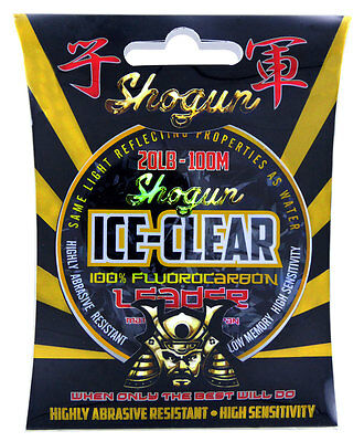 40lb Shogun ICE CLEAR Fluorocarbon Fishing Leader / Line 50mt Spool