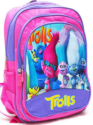 New Large Kids Backpack School Bag Preschool Girls Trolls Disney Pink Children