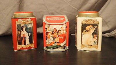 Vintage set of Three Coca Cola Tin Canisters