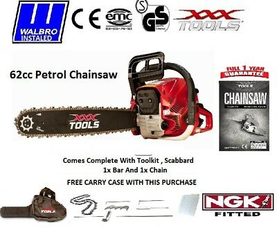 "XXX TOOLS Pro 62cc Petrol Chainsaw 18"" Bar 1 x Chain Easy Start WALBRO CARB NGKr"