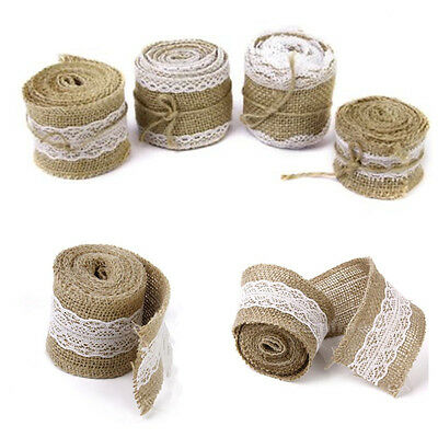 Natural Burlap And Lace Ribbon Wedding Hessian Jute Vintage Rustic Decor White