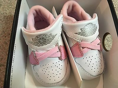 Nike Air Jordan 1ST Crib Shoes White Pink 370305-162 Toddler Size 3C