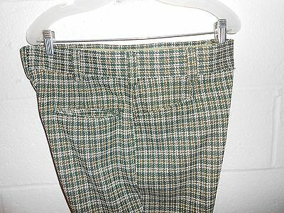 Vintage 60s 70s Woolworth Green Houndstooth Polyester Slacks Pants 34x30