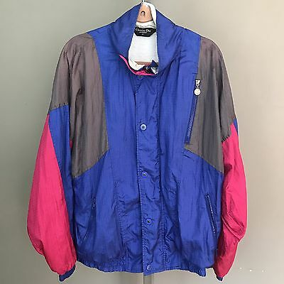 "vtg 80""s christian dior M track suit jacket blue gray pink nylon"