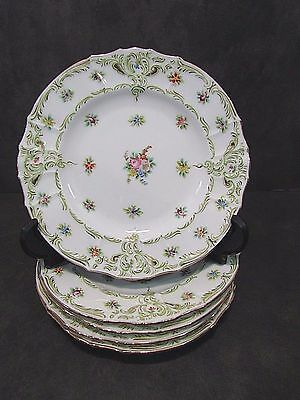5 Antique Handpainted Embossed Porcelain Plates For RB Gray Co St Louis 5.5""