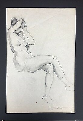 Original Female Nude Drawing, Pencil On Paper, Signed Alfred Hutty