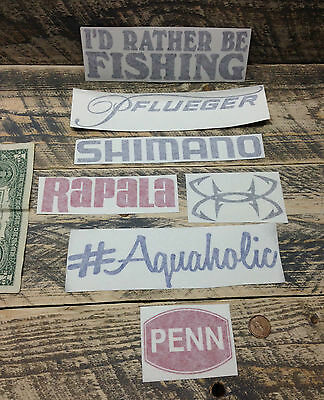 Fishing decals (set of 7) vinyl sticker pflueger boat decal penn tackle box