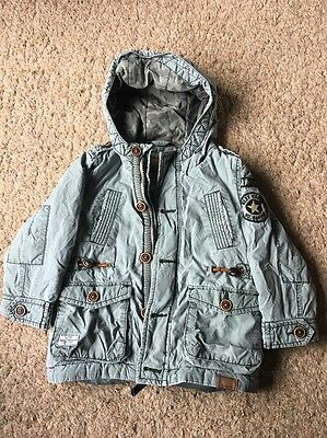 Next Toddlers Light Green Parker Jacket Hooded Coat Age 1.5 - 2 Military Style