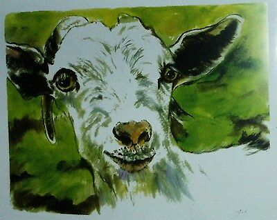 Goat  Art  8 x 10  by CJ LEE Watercolor Print of Original