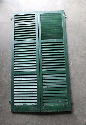 Pair Antique Window Shutters Wood Louvered Shabby Vtg Chic 72X20 209-17P