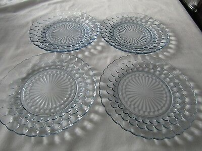 Set of 4 Vintage Anchor Hocking Blue Bubble Glass Dinner Plates 9 3/8""