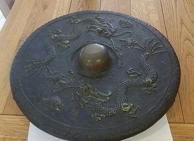 antique chinese gong - 2 chasing dragons