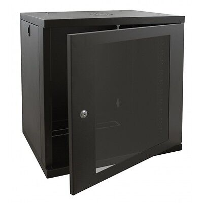 12U 600mm Black Wall Cabinet Network Data Rack For Patch Panel, PDU & LAN Switch