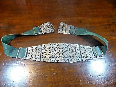 VINTAGE PIERCED & ENGRAVED Silver Plated NURSE'S BELT - 27 inches  green leather