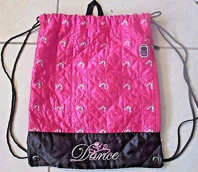 Ballet Dance Bag Drawstring Backpack Pink Quilted Embroidered Shoe Compartment
