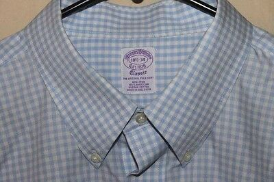 "BROOKS BROTHERS ""Classic Fit"" Dress Shirt Men's 18 - 34 Cotton Blue White"
