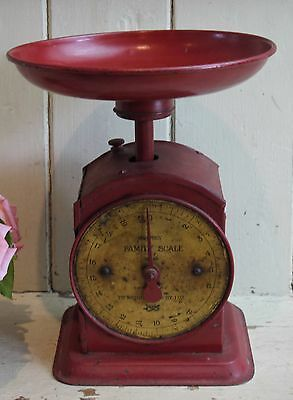Vintage English SALTER Weighing Scales ~ Red Painted Scale with Measuring Plate