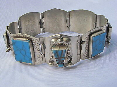 STUNNING Taxco 925 Sterling Silver Bracelet w/ Turquiose Stones Mexico