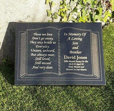 Engraved Bible Personalised Black Granite Memorial Grave Plaque Stone Ornament