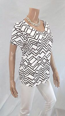 CHICOS  Womens Top Size 2 100% Cotton S/S Stretch White Brown Summer