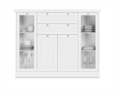 HIGHBOARD BUFFET KOMMODE Schrank Landhaus Landhausstil weiß Glas Neu 25489