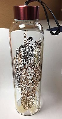 Starbucks 2017 Gold Siren Glass Water Bottle - New in original packaging