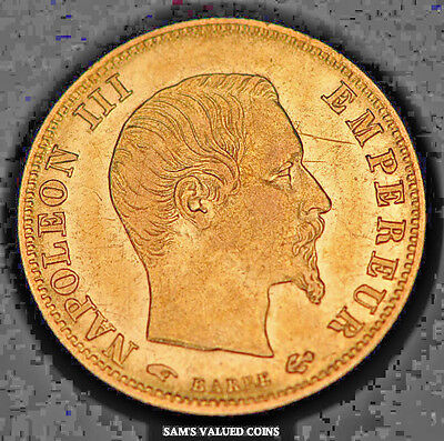 1860-A  French 5 Francs Gold Coin - Napoleon III Empereur - XF