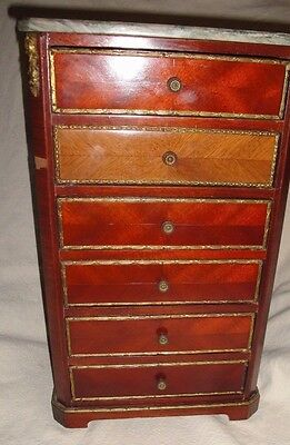 Antique Small Wooden 6 Drawer Chest Marble Top Spain