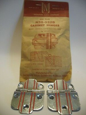 "Vintage NOS CHROME Cabinet Hinges RED Lines 3/8"" Offset Art Deco National Lock"