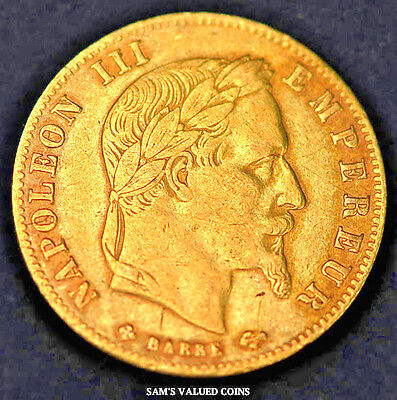 1866-BB  French 5 Francs Gold Coin - Napoleon III Empereur - XF
