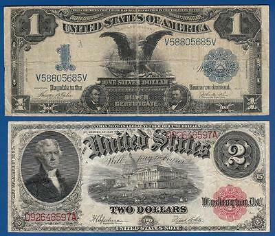 FOUR Large Notes - 1899 $1 Silver - 1917 $2 Legal - 1918 $5 FRBN - 1922 $10 Gold