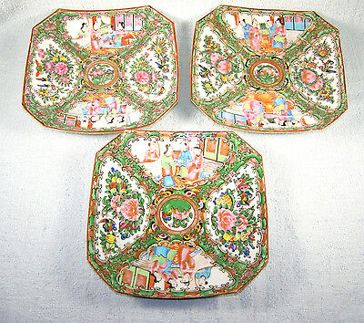 (3) 19th Century Chinese Export Rose Medallion Squared Plates - 8 Sides