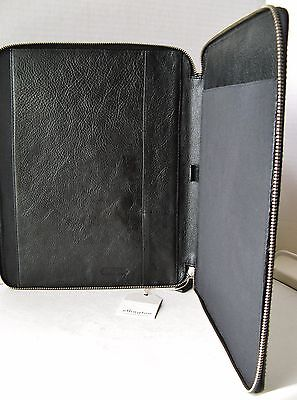 Authentic Ellington Leather Goods Black Pebbled Leather Zip Around Portfolio