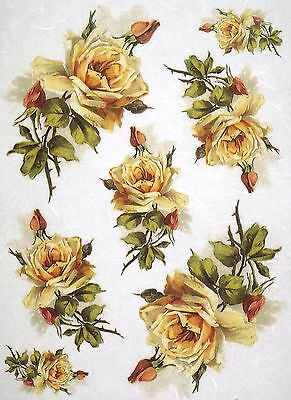 Rice Paper for Decoupage Scrapbook Craft Sheet Yellow Roses
