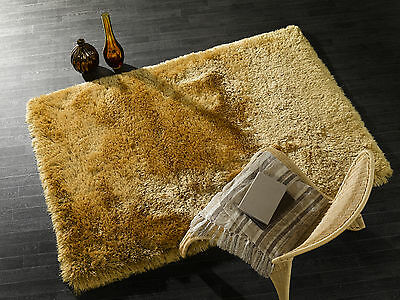 SMALL - X LARGE SOFT CHUNKY THICK 8cm LONG SHAGGY PILE PEARL GOLDEN MUSTARD RUG