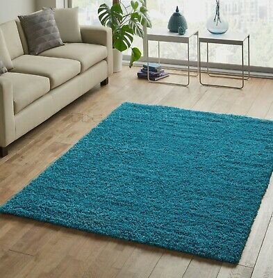 Small - Extra Large Teal Blue Thick Pile Plain Modern Non-Shed Soft Shaggy Rug