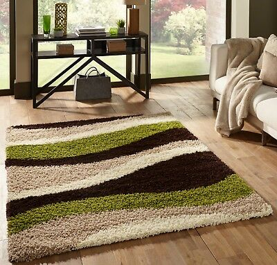 Small Extra Large Beige Green Striped Wavey Thick Soft Rug Modern Shaggy Rugs